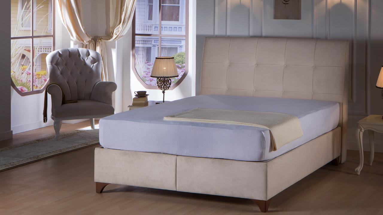 מיטה מרופדת זוגית - ארגזי מצעים