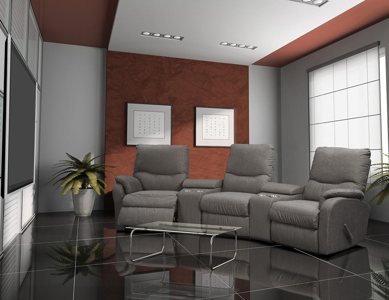 מערכת ישיבה לקולנוע ביתי עם ריקליינרים רילקסון דגם 2066