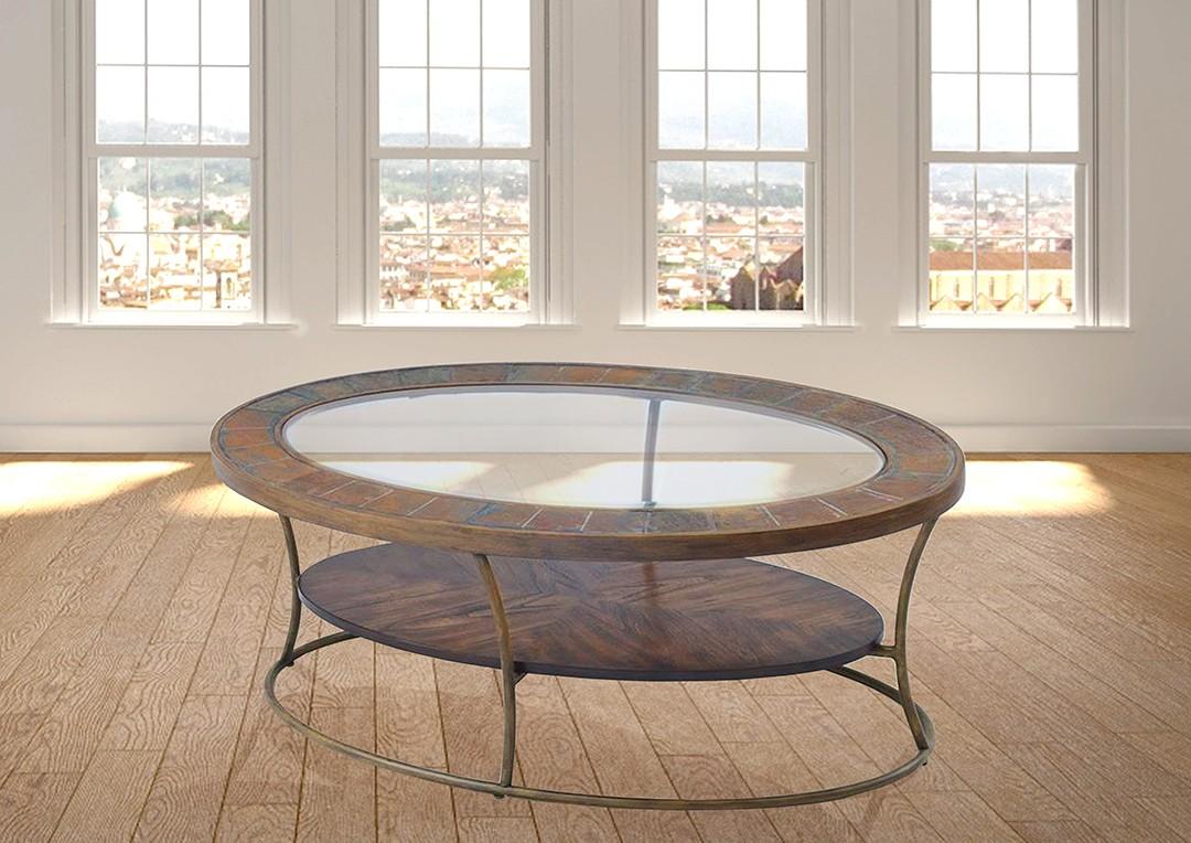 שולחן סלוני אבן צפחה זכוכית עץ רילקסון דגם וודסטון