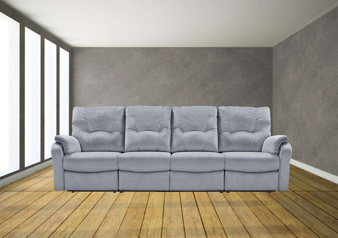 ספה 3 מטר עם ריקליינרים 8099 אפור כהה פטרול