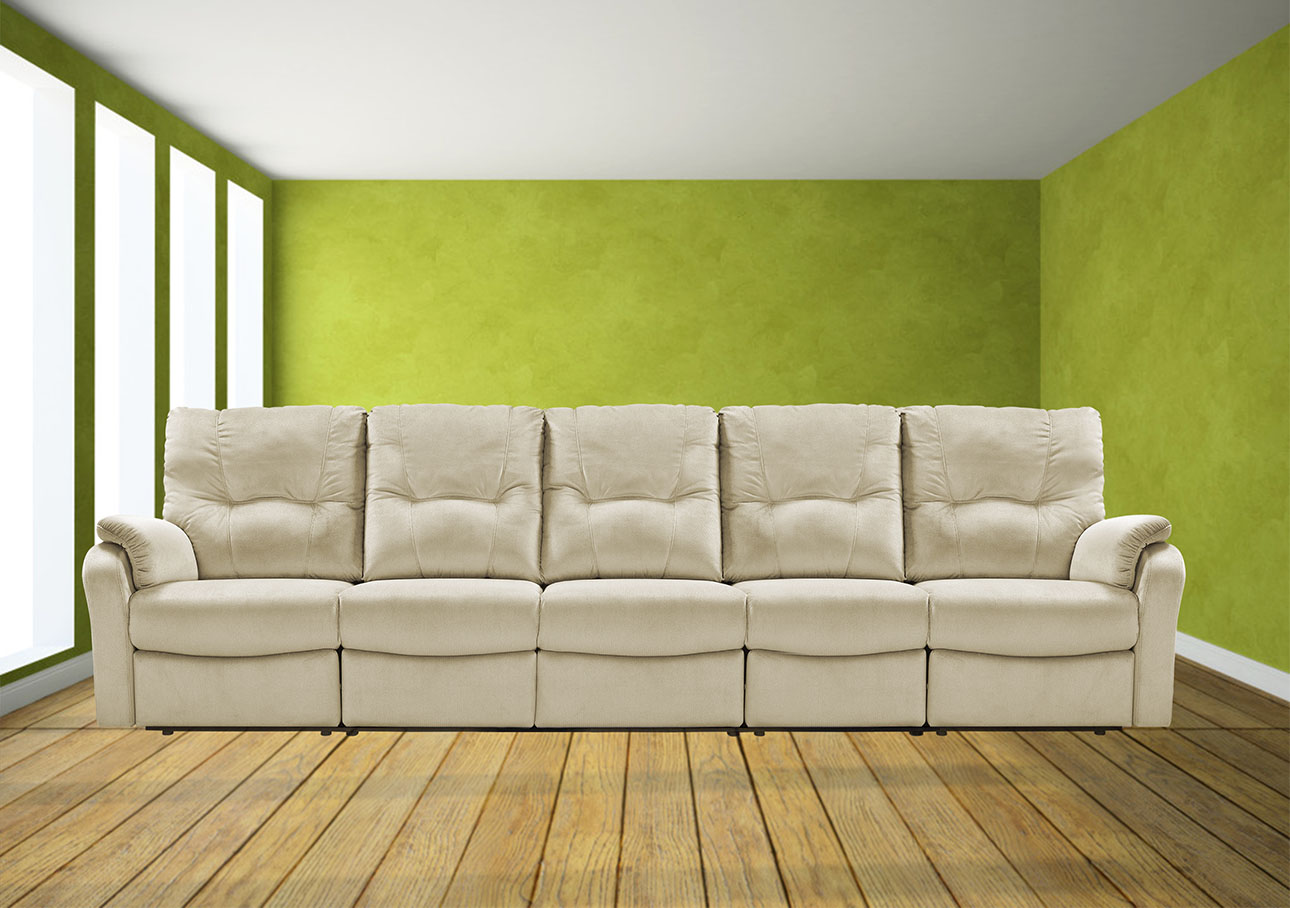 ספה 3 מטר עם ריקליינרים 8099 קרם