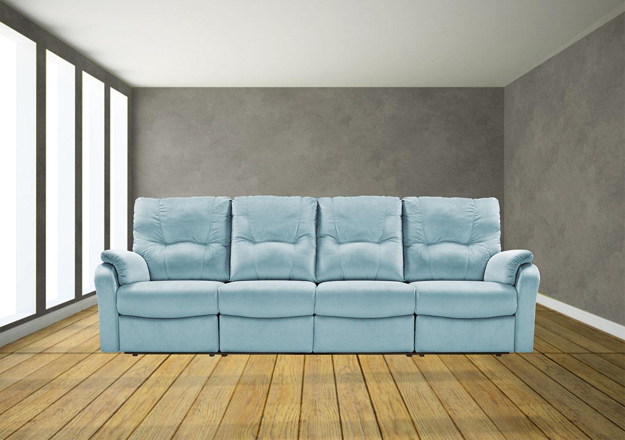 ספה 3 מטר עם ריקליינרים 8099 תכלת