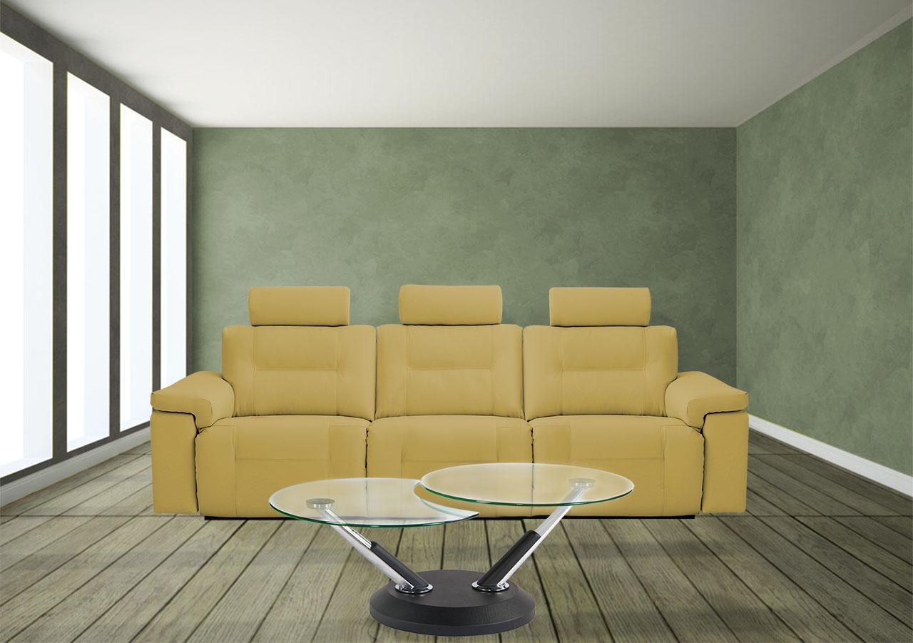 ספת 3 מושבים רגילים קאמל עור ריקליינרים 4025 רילקסון קנדה