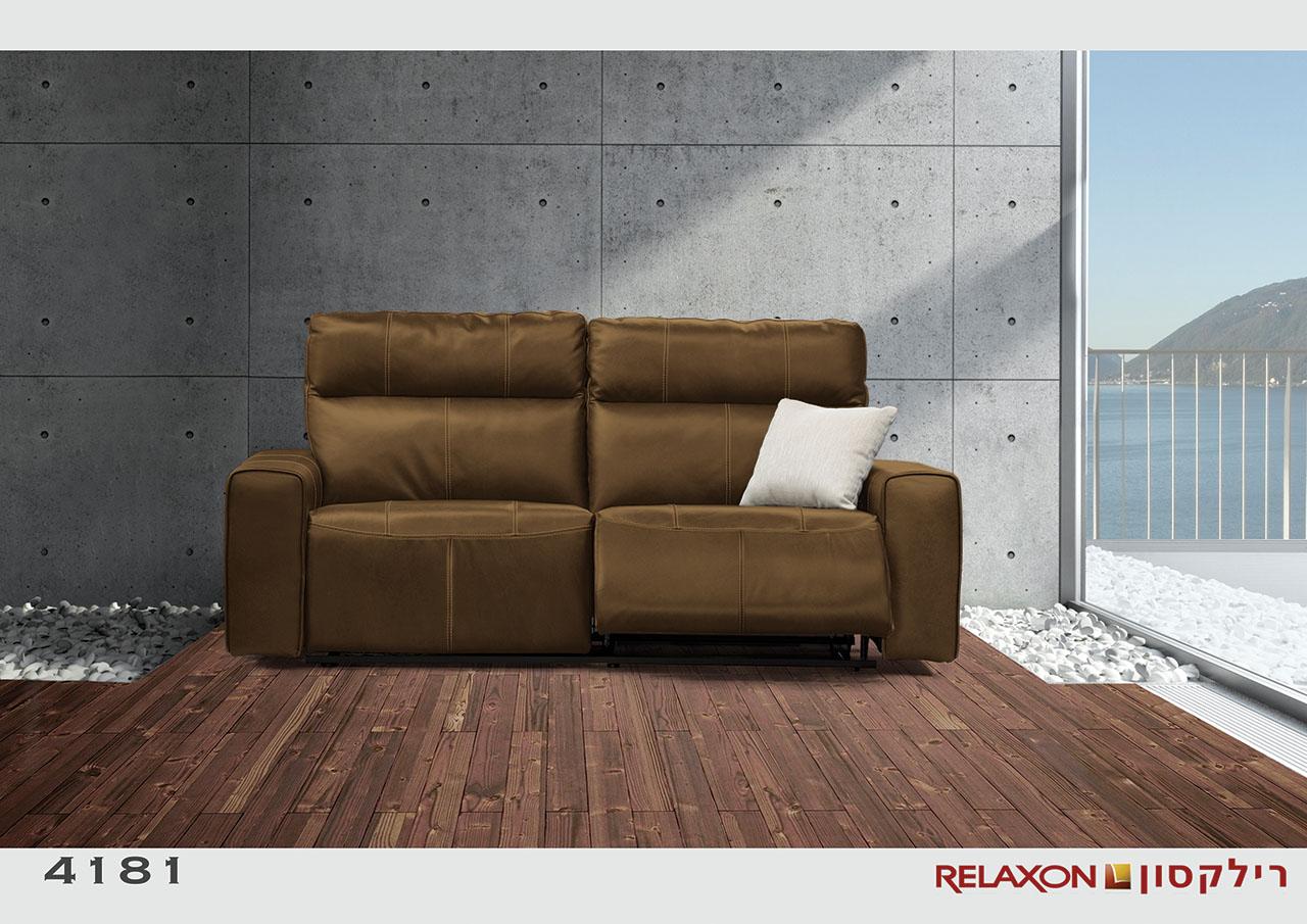 4181 ספת 2 מושבים רחבים צבע חום עור