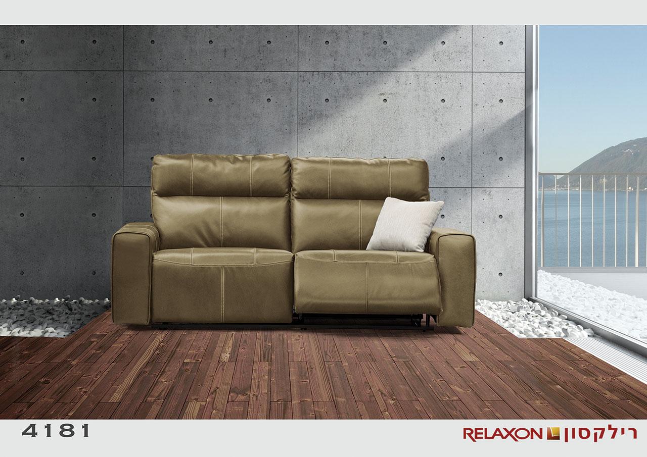 4181 ספת 2 מושבים רחבים צבע 48 ירוק חאקי עור