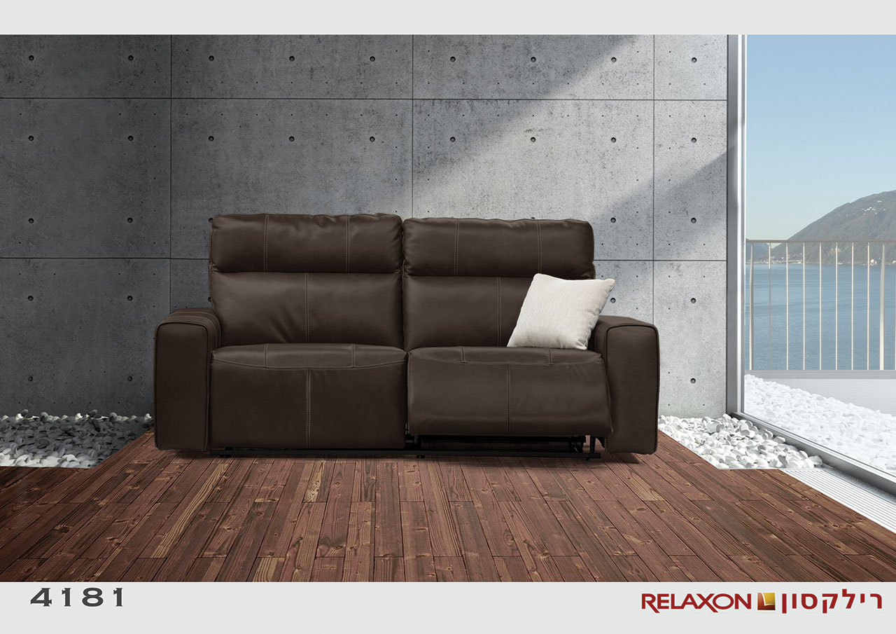 4181 רילקסון קנדה ספת 2 מושבים רחבים צבע שחור עור