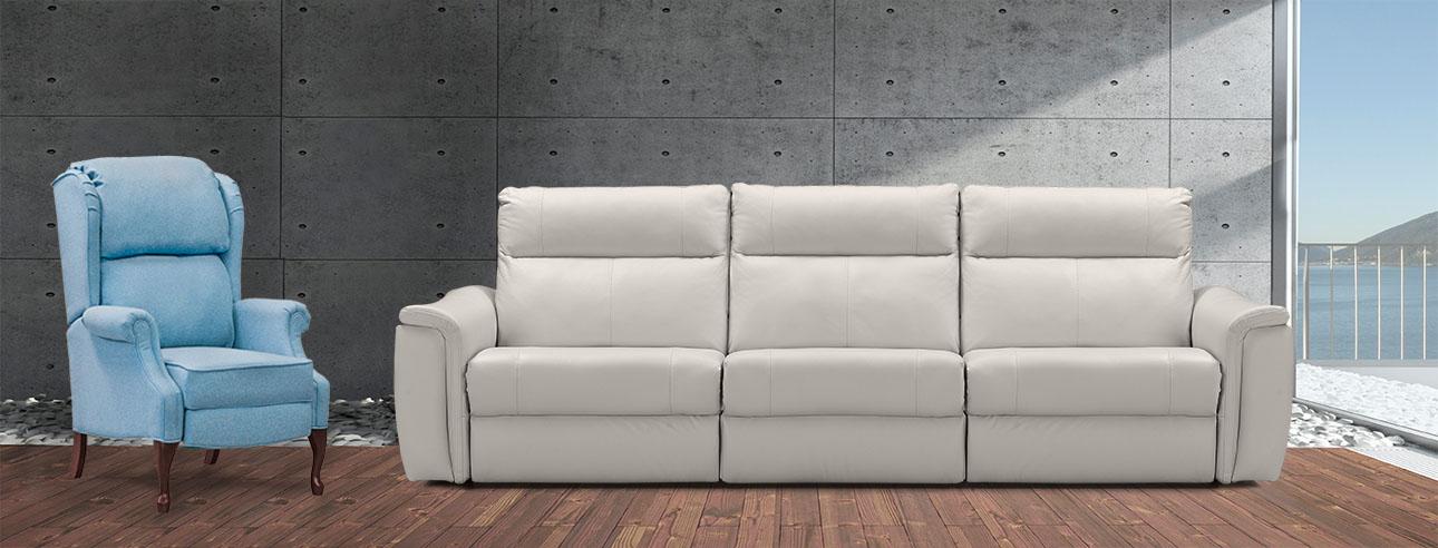 ספה 3 מטר עם ריקליינרים רילקסון קנדה שלוש 4056 מטר בצבע אבן ודבליו תכלת