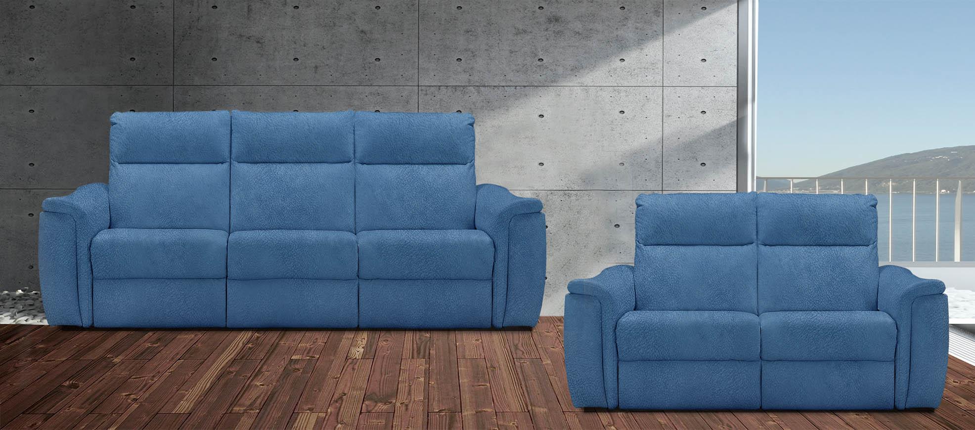 רילקסון 4056 3+2 סלון מתכוונן בד 4724 כחול 07 תוצרת קנדה ריקליינרים