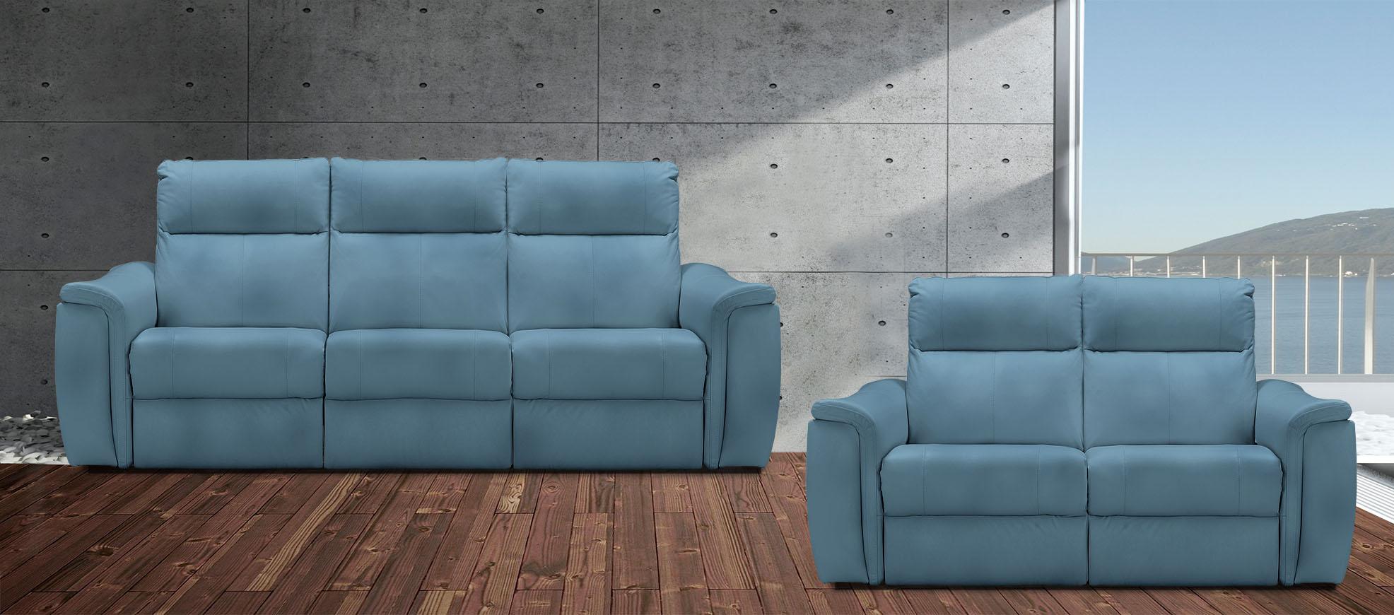 רילקסון 4056 3+2 סלון מתכוונן עור תוצרת קנדה כחול