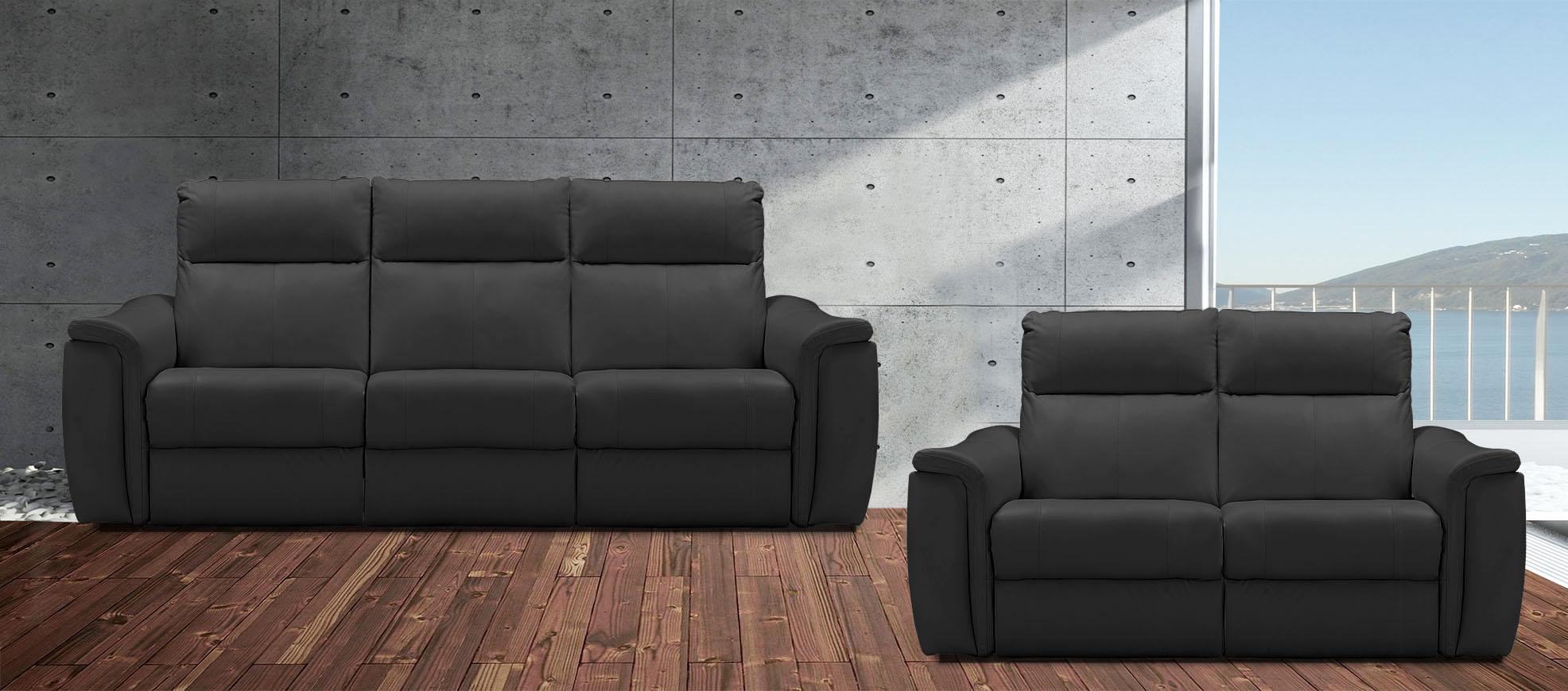 רילקסון 4056 3+2 סלון מתכוונן עור תוצרת קנדה שחור