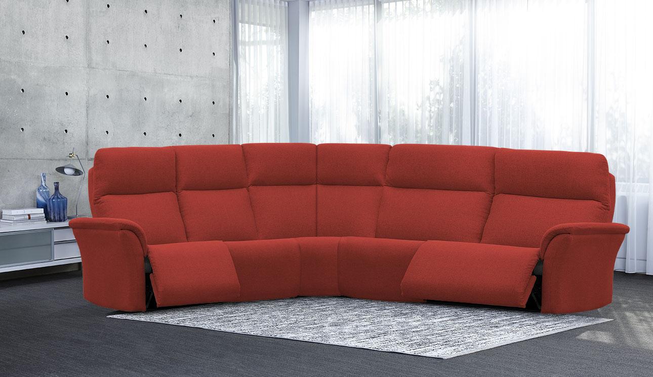 4098 מערכת ישיבה פינתית סלון פינתי עם ריקליינרים בצבע אדום בורדו