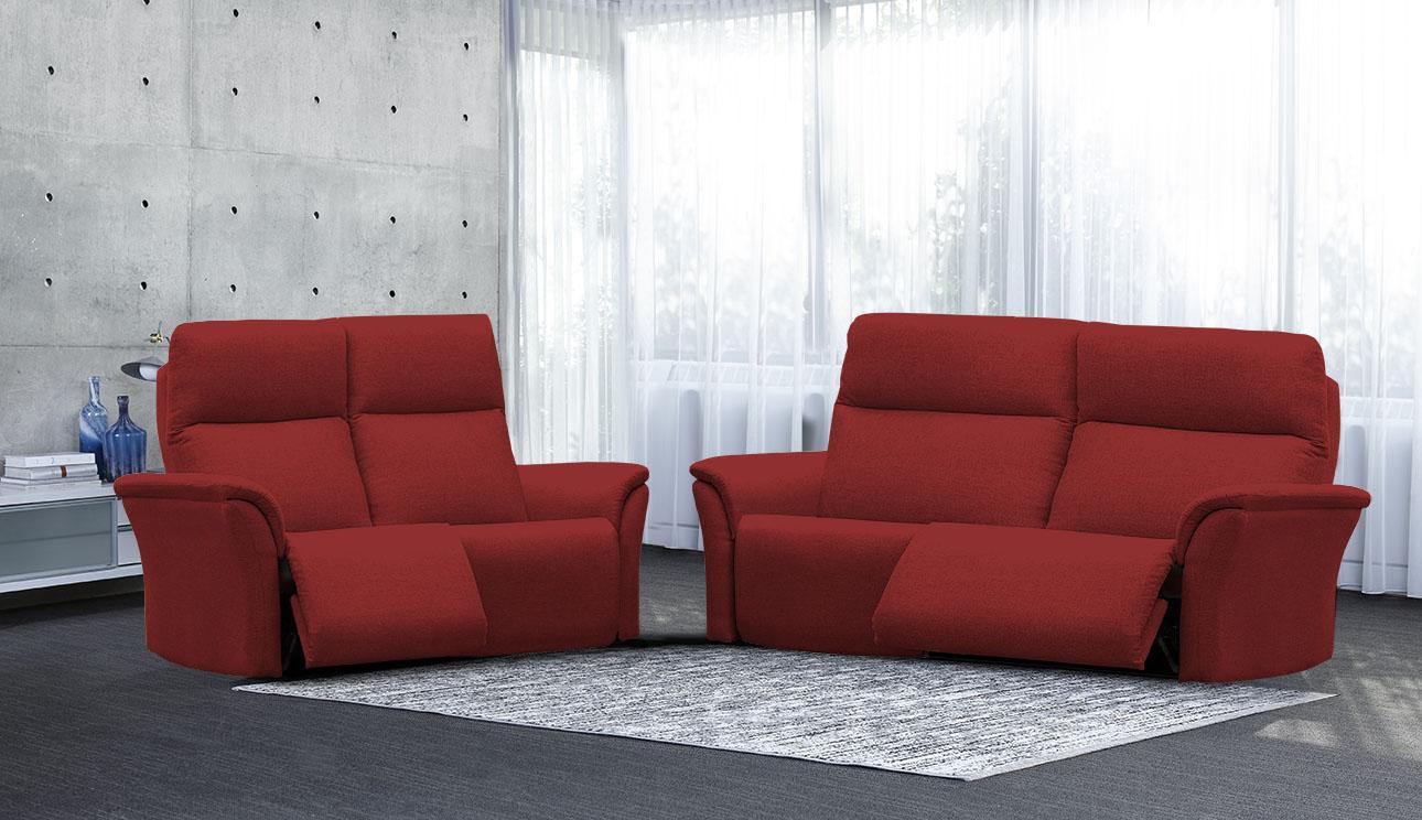 4098 סלון מתכוונן עם ריקליינרים וראשים מתכווננים רילקסון קנדה בצבע בורדו אדום