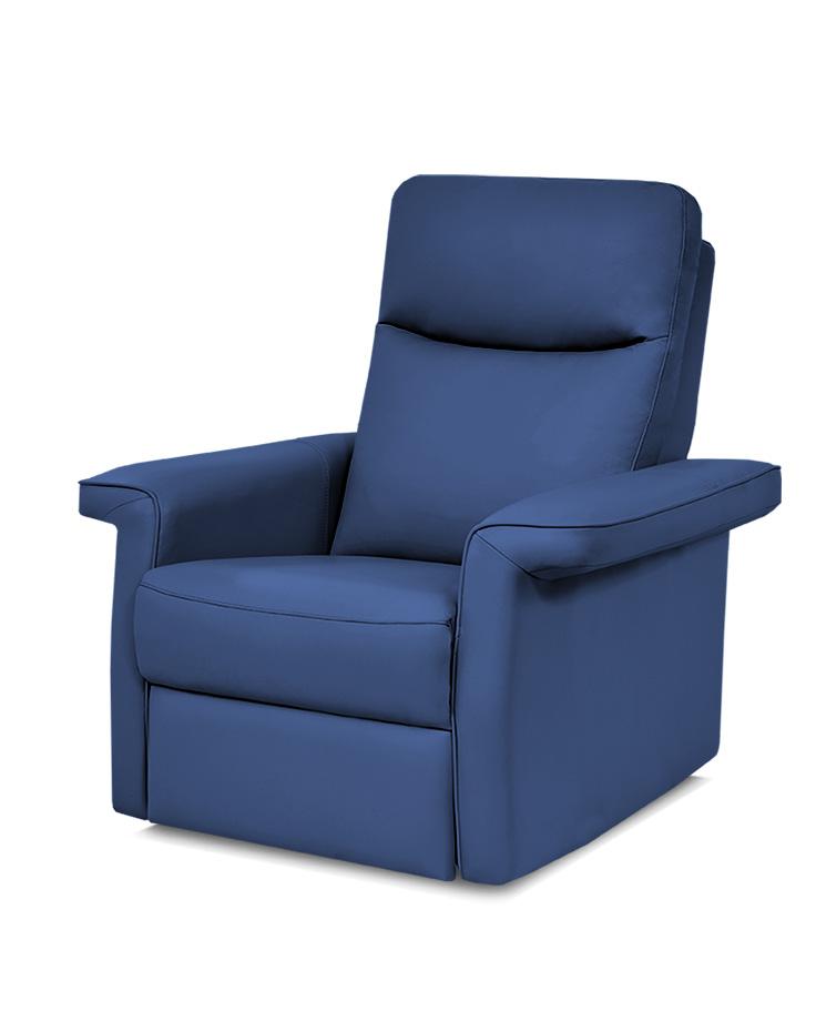 כורסת טלויזיה מעוצבת רילקסון קנדה - פרימיום 852 עור אמיתי צבע 07 כחול