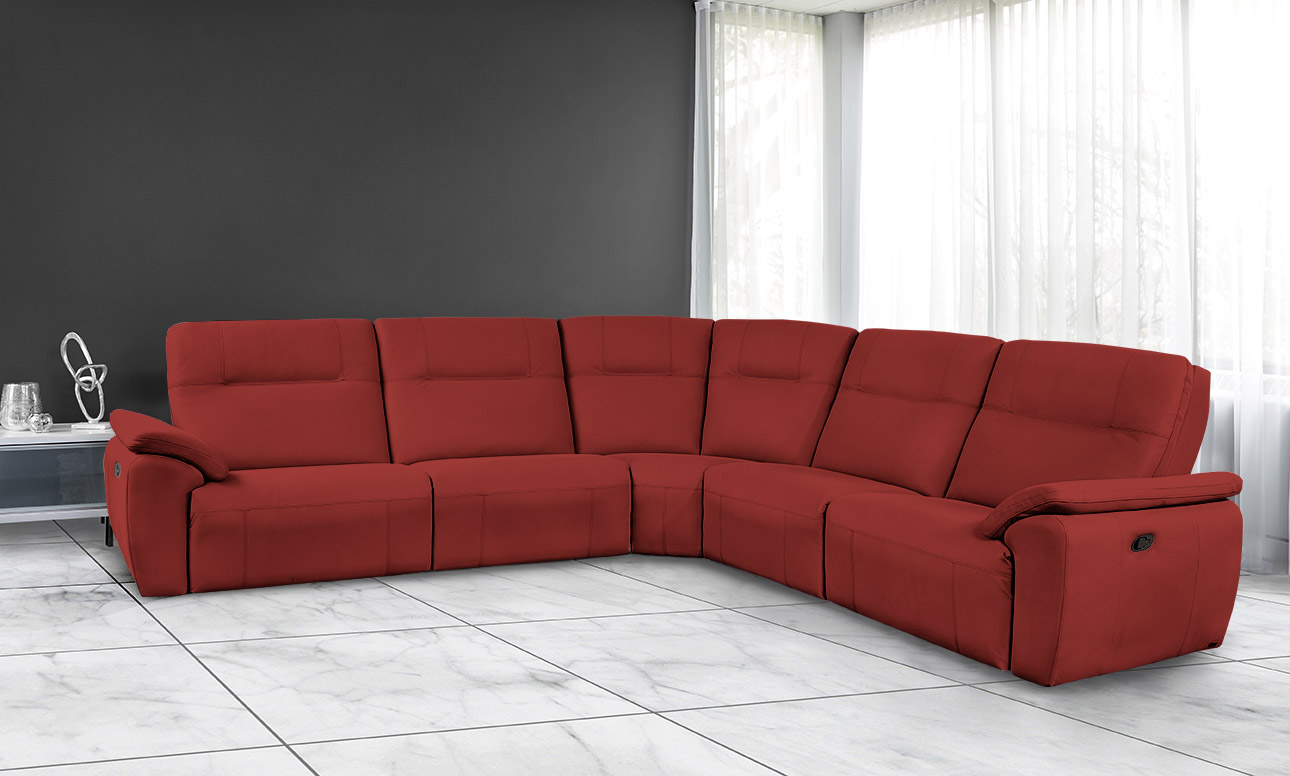 מערכת ישיבה פינתית עור אמיתי רילקסון קנדה ריקליינרים - 4007 - צבע אדום 56