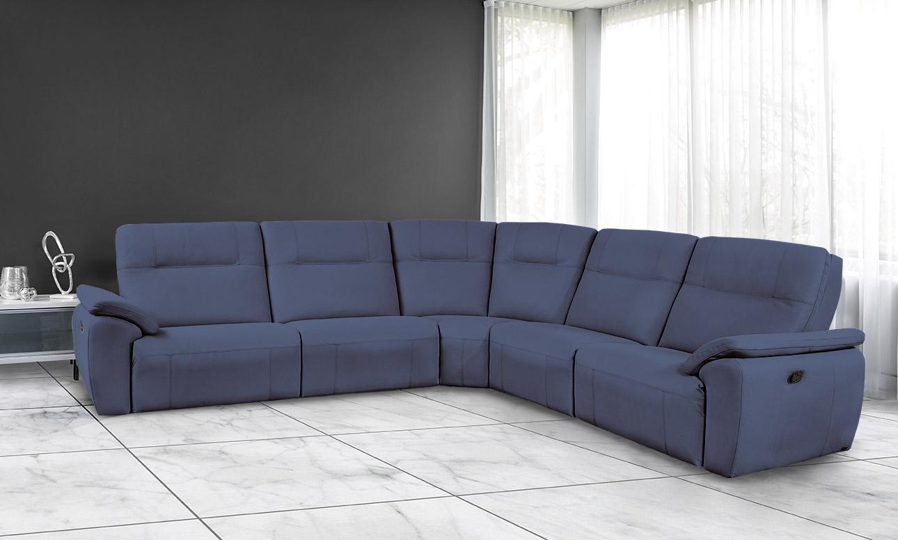 מערכת ישיבה פינתית עור אמיתי רילקסון קנדה ריקליינרים - 4007 - צבע כחול 77