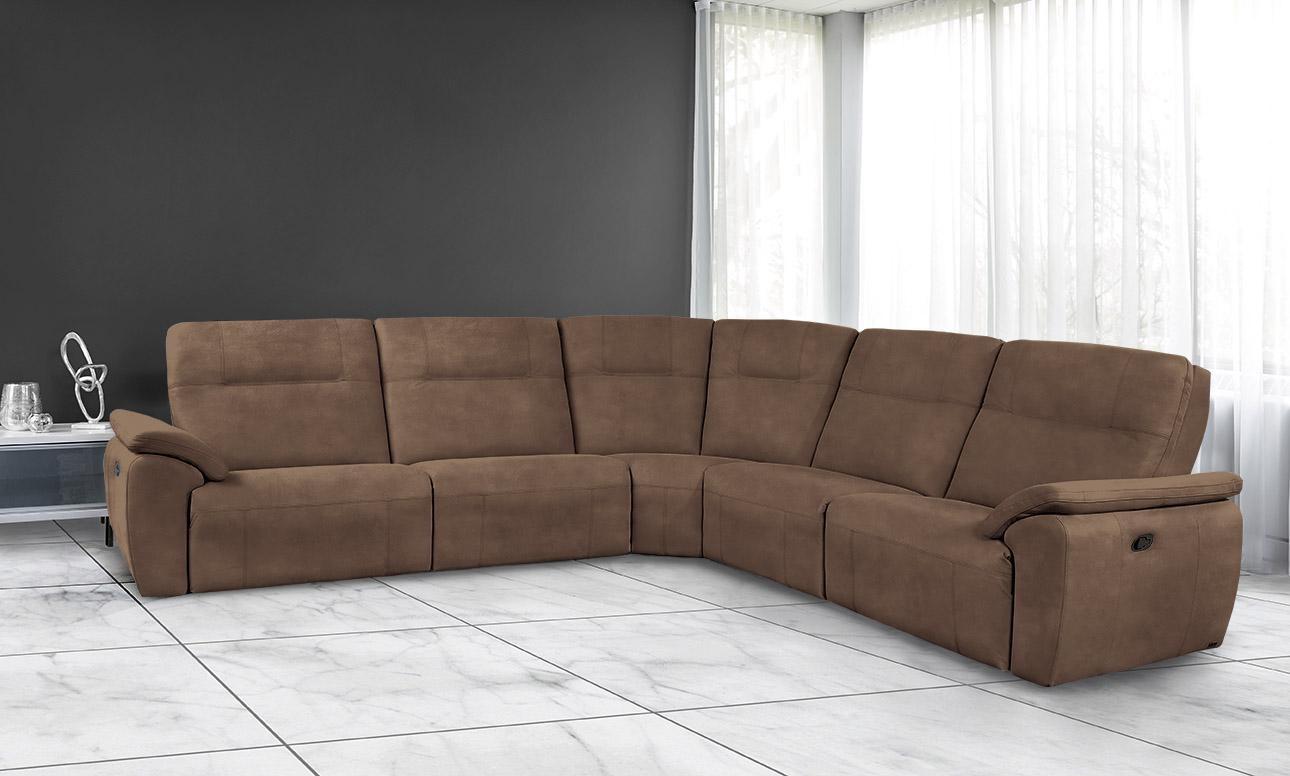מערכת ישיבה פינתית עור אמיתי רילקסון קנדה ריקליינרים - 4007 - צבע שוקולד 82 מעונן