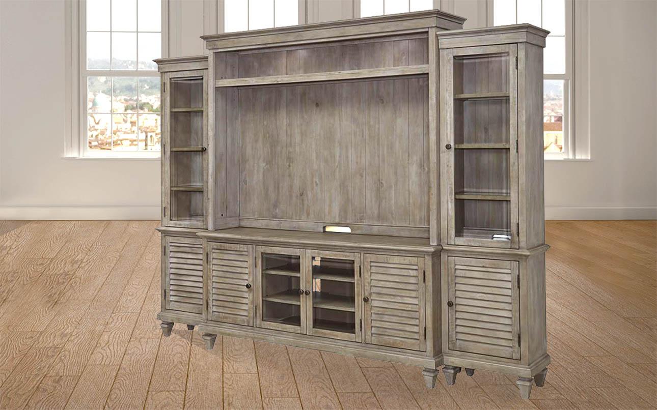 מזנון קיר ענק לסלון- מערכת קיר לסלון עם מקום למסך טלויזיה דגם פרינסטון רילקסון קנדה עץ מלא תמונת צד