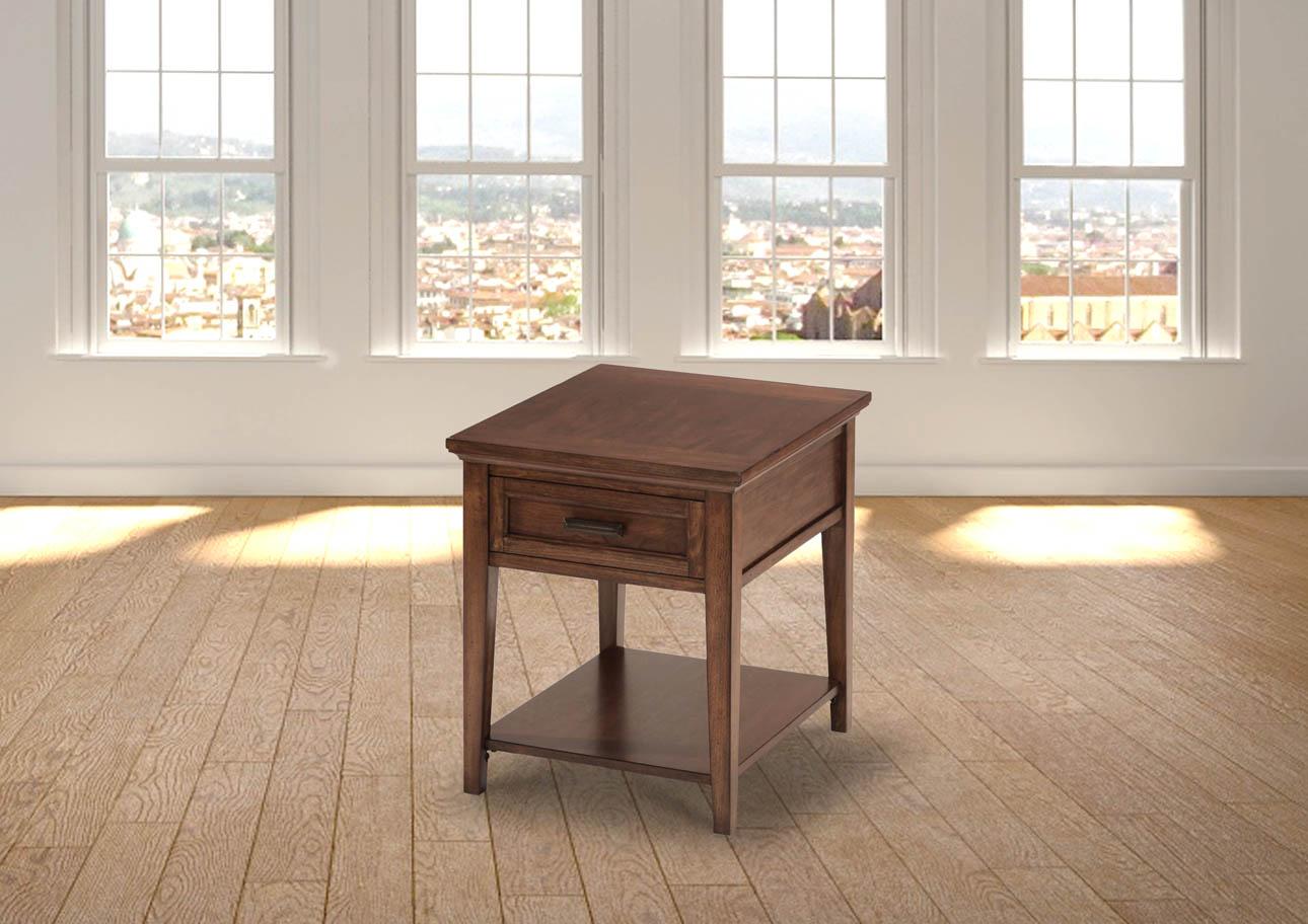 קינגסטון_פינתי שולחן רילקסון קנדה עם מגירה עץ מלא