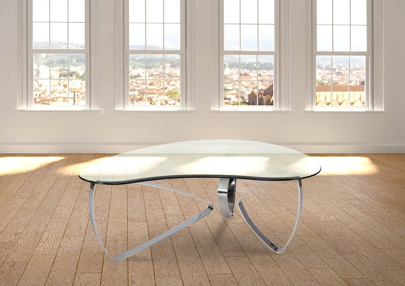 שולחן סלוני רילקסון קנדה דגם פרני נירוסטה זכוכית מחוסמת