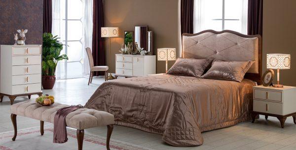 חדר שינה קלרה – מיטה מרופדת מפוארת